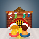 Children by the fireplace on Christmas Eve. Illustration of children by the fireplace on Christmas Eve Stock Image