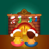 Children by the fireplace on Christmas Eve. Illustration of children by the fireplace on Christmas Eve Stock Images