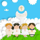 Children first communion, calyx and wafer. First communion card, group of children, calyx and wafer Royalty Free Stock Photos