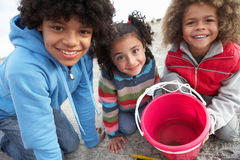 Children fishing for crabs. Smiling at camera royalty free stock images