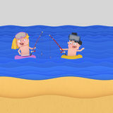Children fishing in a float at beach Royalty Free Stock Photography
