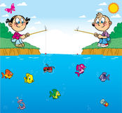Children on fishing. The illustration shows a boy and girl on the pond. They are passionate about fishing. In water swim different fish. Illustration done in Royalty Free Stock Photography
