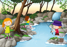 Children fishing in the river. Illustration Royalty Free Stock Image