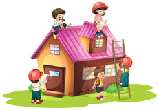 Children fixing and building house Royalty Free Stock Photo