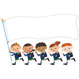 Children and flag of the, Shinnyu study Royalty Free Stock Photo