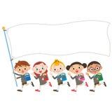 Children and flag of the, Shinnyu study Royalty Free Stock Photo