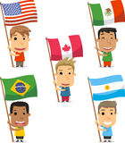 Children with flags from the american continent Stock Photos