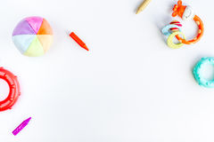 Children flat lay with toys white background top view space for text. Children flat lay with toys on white desk background top view space for text Royalty Free Stock Photography