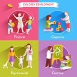Children Flat Set royalty free illustration