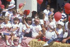 Children on Float in July 4th Parade, Ojai, California Royalty Free Stock Photo