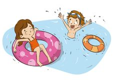 Children with float water rings illustration Stock Image