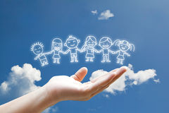 Children floating on hand. In the sky Stock Photos