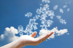 Children floating on hand. In the sky Royalty Free Stock Photography