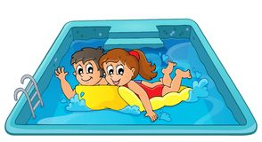 Children on floating mattress in pool Royalty Free Stock Photography