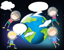 Children floating in the space around the earth Royalty Free Stock Photography