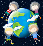 Children floating in the space Royalty Free Stock Image
