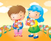 Children with flower Royalty Free Stock Photos