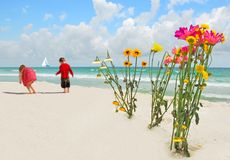 Children by Flower bouquets on beach Stock Photos