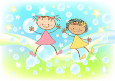 Children fly on soap bubbles. Vector illustration Stock Images