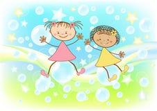 Children fly on soap bubbles. Vector illustration royalty free illustration