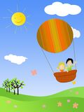 Children flying in a hot air balloon. Illustrations of children flying with hot air balloon Stock Image
