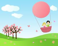 Children flying in a hot air balloon. Pinky illustration of children flying over meadows in a hot air balloon Royalty Free Stock Photos
