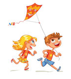 Children flying a kite. Funny cartoon character Royalty Free Stock Images