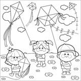 Children flying kites coloring book page. Stock Image