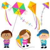 Children flying kites. Stock Photography