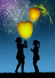Children with flying lanterns Royalty Free Stock Images