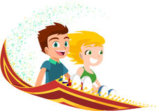 Children flying on a magic carpet Royalty Free Stock Photography
