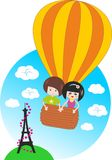 Children Flying On Balloon On Paris