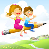 Children on Flying-Pencil Royalty Free Stock Photography
