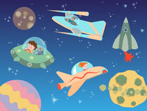 Children flying on spacecraft in outer space among planets and s stock illustration