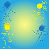 Children fon card. Illustrations and  art, birthday party card Royalty Free Stock Photography