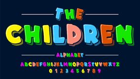 Children is font in the cartoon style of kids. Set of multicolored bright letters for inscriptions. Vector illustration. Of an alphabet. For your design vector illustration