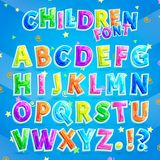 Children Font Illustration with Blue Background. Children font vector illustration with blue background. Colorful capital letters alphabet for kids along with Royalty Free Stock Images