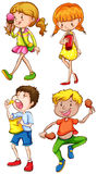 Children and food. Illustration of children eating food Royalty Free Stock Image