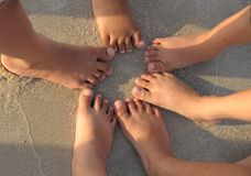 Children Foot on Beach Royalty Free Stock Photos