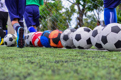 Children in football practice training Stock Photo