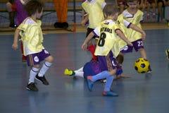 Children footballers stock images