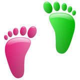 Children footprint. Illustration of childrens footprints on a white background Stock Photo