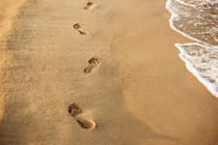 Children footprints in the sand. Human footprints leading away from the viewer. A row of footprints in the sand on a beach in the Royalty Free Stock Photography