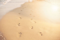 Children Footprints in the sand. Human footprints leading away from the viewer. A row of footprints in the sand on a beach in the Royalty Free Stock Photo