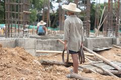 Children are forced to work construction., Violence children and stock image