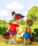 Children in the forest Royalty Free Stock Photo