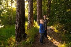 Children in forest Stock Image