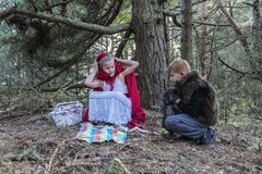The children in the forest Stock Photography