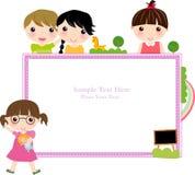 Children and frame. Illustration art royalty free illustration