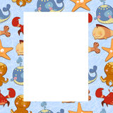 Children frame with colorful marine life Stock Photos